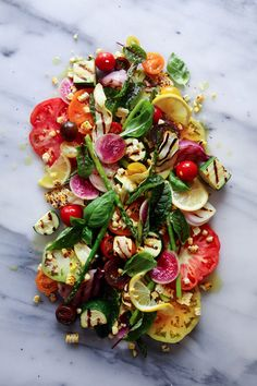heirloom tomato grilled veggie salad