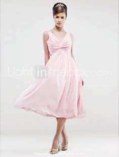 A-line V-neck Knee-length Chiffon Bridesmaid/ Wedding Party Dress With Side-draping - US$ 79.99