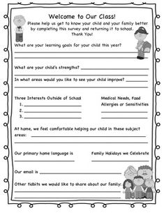 Family Student Survey - great way to get to know your students and their families