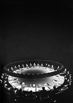 The War Room set from the movie, Dr Strangelove (1964), designed by Film Production Designer and Art Director, Sir Ken Adam, most famous for his set designs for the James Bond films of the 1960s & 1970s and the man responsible for defining the 'James Bond look'