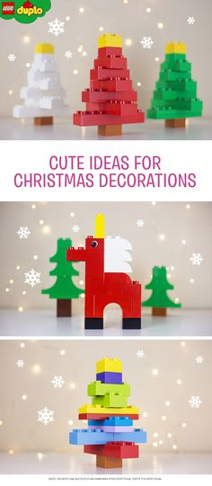 These LEGO DUPLO Christmas decorations will look perfect in your living room or toddler's bedroom. The Christmas trees could be used to hide small Christmas presents and the unicorn will trigger anyone's imagination. Make them in any colour you like! All you need is a handful of bricks.