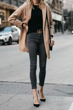 856b64d2df90a Topshop Camel Coat Black Sweater Grey Skinny Jeans Gucci Marmont Belt  Christian Louboutin Black Pumps Fashion