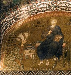 """Byzantine mosaic in the Chora church (now museum) in Istanbul. The donor, Theodore Metochites, offers the new church to Christ. Statesman, author, gentleman philosopher and patron of the arts, Theodore Metochites had a key role in the so called """"Palaiologos Renaissance"""" of the Byzantine empire. From 1305 to 1328 he held the position of personal adviser to emperor Andronikos II Palaiologos"""