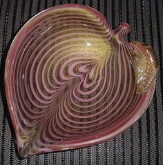 INCREDIBLY Opulent MURANO Glass BOWL Heart SCULPTURE Gold DUST Intricate DESIGNS