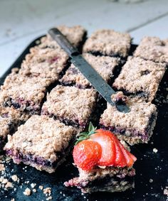 Triple Berry SunButter Bars - Fast, easy, allergy-friendly, Great for breakfast, snacks, or a healthy dessert!! The big crumbles are irresistible! Make these bars year round!!