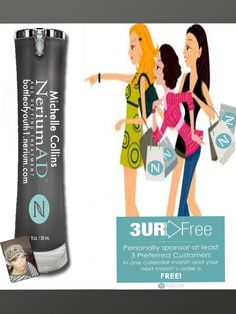 I love getting my Nerium Age Defying Solution for FREE!  Yep, FREE!  Awesome results with no cost. What is Nerium Skin Care? ONE awesome product you use only at night. REAL Science, REAL Results! Age-defying treatment- fine lines wrinkles, skin texture, pores, aging and sun damaged skin-30day money back guarantee. www.KathleenJohnson.nerium.com   www.facebook.com/pages/Nerium-Brand-Partner-Kathleen-Johnson/553265828021921