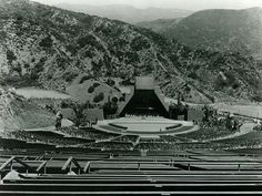"""The Hollywood Bowl in This pyramid-shaped bowl was designed by Frank Lloyd Wright using lumber donated by the Pickford-Fairbanks studio left over from their 1922 picture, """"Robin Hood. Garden Of Allah, San Luis Obispo County, San Fernando Valley, Old Hollywood, Classic Hollywood, The Old Days, Local History, Lloyd Wright, Orange County"""
