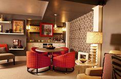 Basement Den - eclectic - basement - portland - Garrison Hullinger Interior Design Inc.