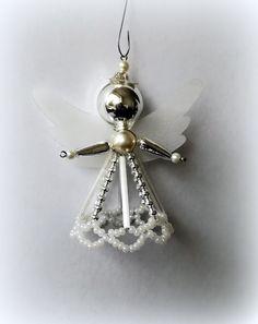 Vánoční+ozdoba+z+foukaných+perel+Anděl