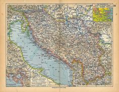 1928 Vintage Map Croatia Slovenia Albania Serbia by carambas, $14.00