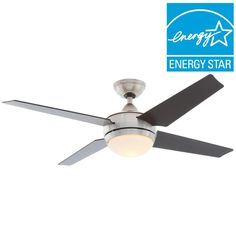 Hunter Sonic 52 in. Indoor Brushed Nickel Ceiling Fan with Light Kit and Universal Remote