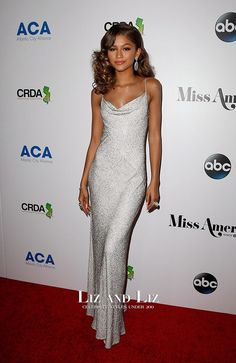 Zendaya Silver Sequin Evening Prom Celebrity Dress 2016 Miss America