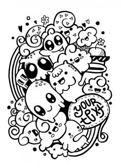 Illustration of Group of happy doodle monster ,drawing style. vector art, clipart and stock vectors. Cute Doodle Art, Doodle Art Designs, Doodle Art Drawing, Cute Art, Doodles Kawaii, Happy Doodles, Easy Doodles Drawings, Cool Art Drawings, Doodle Monster