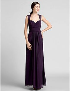 Floor-length Chiffon Bridesmaid Dress-Plus Size / Petite Sheath/Column Sweetheart