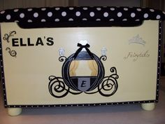 Items similar to Cinderella Themed Toy Box (DreamWorld Collection) on Etsy Cinderella Toys, Personalized Plaques, Toy Boxes, Small World, Custom Paint, Little Ones, Toy Chest, Nursery Decor, I Shop