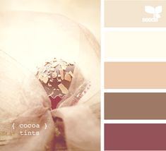 "cocoa tints - love this palette....maybe for the bedroom, dad could finally get his ""purple"" wall  :-)"