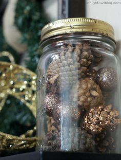 Pinecones in mason jar. So cute!