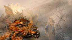 Glaurung and Nienor by Mysilvergreen Watch Report Digital Art / Drawings & Paintings / Illustrations / Mysilvergreen Tolkien, Elf Man, Shadow Of Mordor, Morgoth, Luthien, Dragon King, Fantasy Artwork, Middle Earth, Lotr