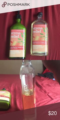 BBW stressreliefeucalyptustangerinebodywash&lotion Body wash/ foam bath is half full. Lotion is full Other