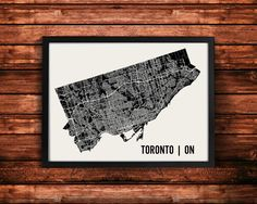 Toronto Ontario Canada map art print by Mr. City Printing. Thousands of individual line segments were superimposed over a silhouette of Torontos city limits to create this print. The streets are scaled differently to represent their size. A unique modern design that I hope any traveler or resident of Toronto will love. Each print is signed on the back. Frame not included, please message us for a framing quote.  50+ Cities available: https://www.etsy.com/shop/MrCityPrintin...