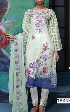 Light Green Lawn Suit | Buy Gulmohar Pakistani Dresses and Clothing online in USA, UK