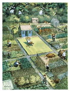 garden illustration hicockalorum: rosa-luna: Norman Thelwell loving this drawing even though id be happier working in a garden than a having a lawn. Allotment Gardening, Potager Garden, Garden Art, Garden Design, Farm Layout, Garden Illustration, Garden Planning, Garden Inspiration, Vegetable Garden