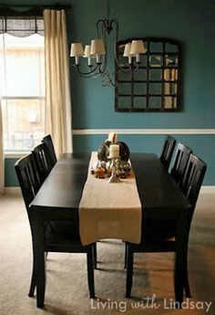 Smoked Turquoise by Glidden, I love this color for the dining room wainscoting!