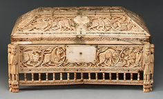 "11th or 12th century ivory caskest, 15"" x 8"", known as the Morgan casket, probably produced in southern Italy or Sicily, the three centuries of Islamic rule influenced the design of interlacing vine and animals."