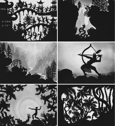 Lotte Reiniger silhouette vignettes made of paper. Shadow Images, Shadow Art, Shadow Play, Illustrations, Book Illustration, Shadow Theatre, Paper Puppets, Up Book, Shadow Puppets
