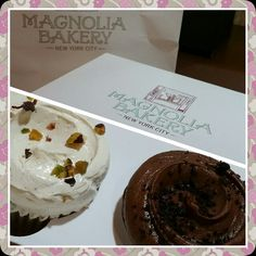 Pistachio Cupcake and Devils Food Cupcake Magnolia Bakery New York, Pistachio Cupcakes, Devils Food, Pudding, Desserts, Tailgate Desserts, Pistachio Muffins, Deserts, Custard Pudding