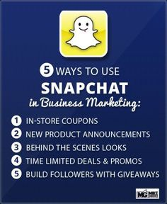 5 Ways to Use Snapchat in Business Marketing (scheduled via http://www.tailwindapp.com?utm_source=pinterest&utm_medium=twpin&utm_content=post54398698&utm_campaign=scheduler_attribution)