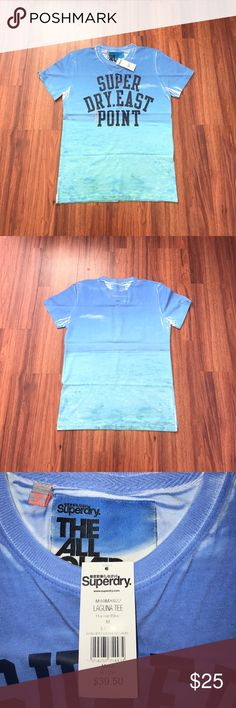 Superdry Hawaiian t-shirt Blue/Aqua t-shirt with dark blue lettering Superdry Shirts Tees - Short Sleeve