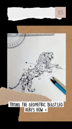 FOUR STEPS FOR THE GEOMATRIC BEAST| Pen sketch| Aastha Thakur