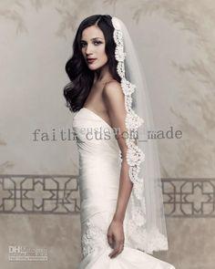 jamie u like? wanted longer but i likey Wholesale Paloma Blanca V432F Ivory Lace Bridal Veil Lace Trim Finger Length Wedding Bridal Veil, Free shipping, | DHgate