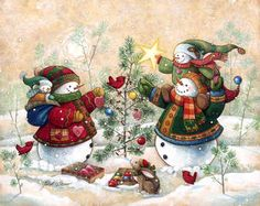 """""""Holiday Sparkle"""" by Janet Stever, artist and illustrator, from the Snow Family Series."""