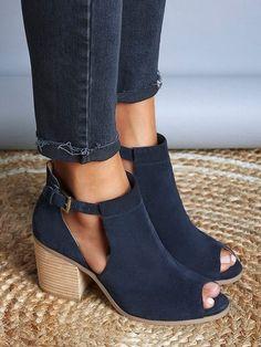 Side Cutout Open Toe Block Buckle Heels Sandals - Dark Blue