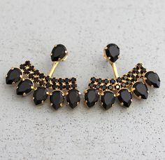 Ear Jacket Earrings, Black Gold Ear Jackets, Swarovski Crystal Earrings, Trending Jewelry, Gift for Ear Jewelry, Bridal Jewelry, Beaded Jewelry, Jewellery, Bridal Earrings, Crystal Jewelry, Diamond Jewelry, Black Earrings, Jacket Earrings