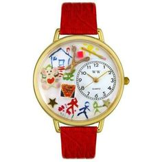 Whimsical Unisex Preschool Teacher Red Leather Watch