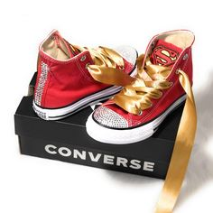fa3c7ea30 Superman Inspired Converse for Kids - Red Converse with Crystals and Gold  Satin Laces - Swarovski Converse - Customized by SparkleMeBaby2U