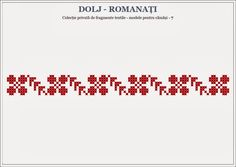Semne Cusute: Romanian traditional motifs - OLTENIA, Dolj & Roma... Blackwork Embroidery, Folk Embroidery, Beaded Embroidery, Cross Stitch Embroidery, Embroidery Designs, Cross Stitch Charts, Cross Stitch Patterns, Palestinian Embroidery, Alpha Patterns