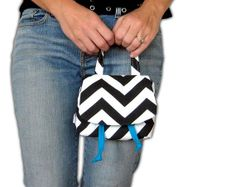 Small Bag. Chevron Purse. Modern Style Wristlet. Clutch. Bridesmaid Gift. Black White Chevron Choose Solid. Drawstring Closure. Flap Style.
