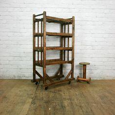 Vintage Industrial Wooden Shoe Factory Rack Trolley #3 – Retail Shop Display