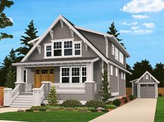 Narrow Lot House Plans, Family House Plans, Cottage House Plans, Cottage Homes, House Floor Plans, Family Houses, Bungalow Homes, Small Houses, Craftsman Style Homes