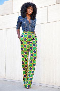 Denim x Silk Polka Dot Pants