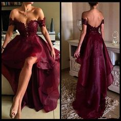 Burgundy Organza High Low Prom Dress,Off shoulder Formal Dresses,Pageant Senior Prom Gown,PD2097
