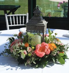 Lantern with flower ring, peonies, a favorite of mine!