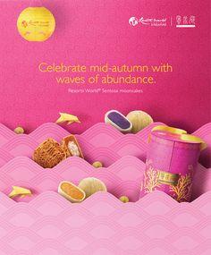 Resorts World Sentosa Mid-Autumn Festival Print Ad Typography Poster Design, Graphic Design Posters, Food Banner, Web Design, Best Banner, Commercial Ads, Mid Autumn Festival, Moon Cake, Festival Posters