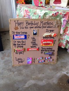 Candy Bar Poem For Birthday Gift