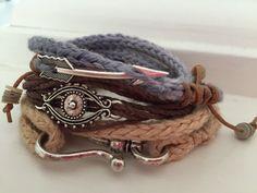 Multi Strand Hemp Bracelet with evil eye by WildCottonJewelry