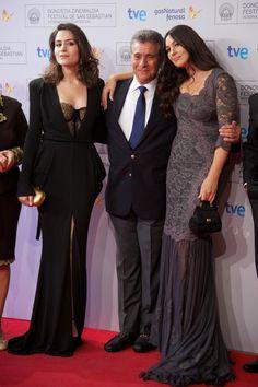 "Actress Belcim Bilgin, actor Behrouz Vossoughi and actress Monica Bellucci attend the ""Fasle Kargadan"" (Rhino Season) premiere at the Kursaal Palace during the 60th San Sebastian International Film Festival on September 26, 2012 in San Sebastian, Spain."